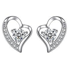 Idea Regalo - Jessibox Orecchini cuore d'argento puro 925 con zirconia cubica