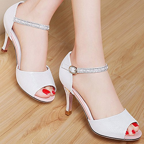 ZPPZZP La sig.ra sandali tacco alto stile Coreano artificiale porta poco profonda pacchetto con belle con scanalato 37EU