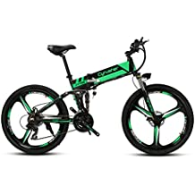 cyrusher xf700 Mans verde negro plegable bicicleta eléctrica 17 x 26 inch bicicleta de montaña suspensión total 250 W 36 V 21 velocidades con freno de disco mecánico y antideslizante de apagado inteligente ordenador de bicicleta