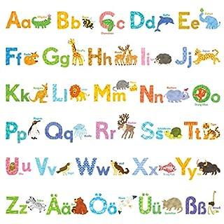 Decowall DW-1808 Aquarell Tiere Deutsch Alphabet Wandtattoo Wandsticker Wandaufkleber Wanddeko für Wohnzimmer Schlafzimmer Kinderzimmer