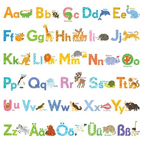 Decowall DW-1808 Aquarell Tiere Deutsch Alphabet Wandtattoo Wandsticker Wandaufkleber Wanddeko für Wohnzimmer Schlafzimmer Kinderzimmer - Kleinkind-mädchen-wand-spiegel