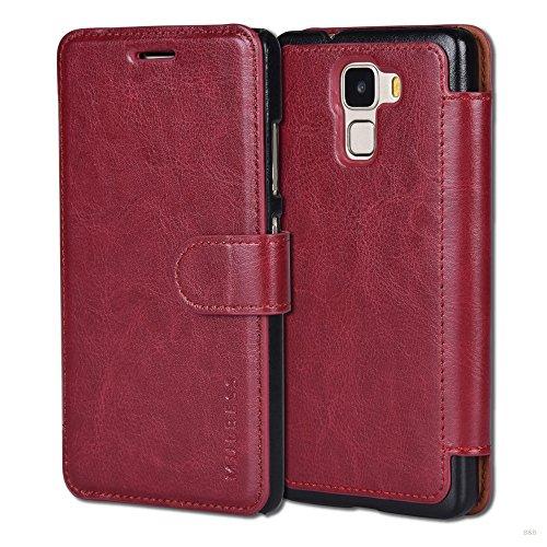 Mulbess Layered Dandy Ledertasche im Bookstyle und Kartenfach für Huawei Honor 7 hülle Tasche Leder,Weinrot