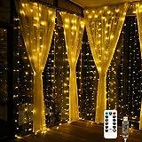 Fulighture Lichterkette Innen,Led Deko,Led Lichterkette,Lichterkette Strombetrieben von USB, 300 LEDs Lichterkettenvorhang Kupfer 3M*3M, IP67 Wasserdicht, 8 Modi Warmweiß für Innen und Außen Deko
