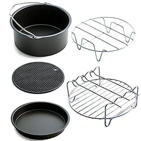 Air Fryer Accessory Kit, Deep Fryers Universal Air Fryer - Including Cake Bucket,Baking Tray,Grill,Pot Mat,Pot Rack - Suitable for all 3.7QT-5.3QT-5.8QT Fryers (5