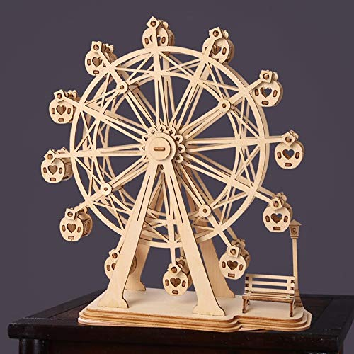 taluoahc Lernspielzeug zur Robotime DIY 3D Laser Cutting Wooden Ferris Wheel Puzzle Game Gift for Children Kids Model Building Kits Popular Toy (Für Kids Building Model Kits)