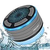 Bluetooth Dusch Lautsprecher Wasserfester Wireless Speaker mit FM Radio Tragbarer Wireless Duschradio Super Bass und LED Beleuchtung Eingebautes Mikrofon für Strand, Pool, Küche & Home -