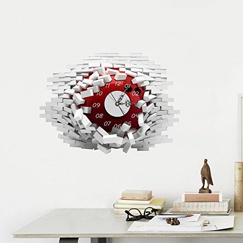 Wanduhr 3D- European Simple Fashion 3D Wandaufkleber Uhr Wohnzimmer, Restaurant, Mute Persönlichkeit DIY Wandaufkleber Uhr Selbstklebend