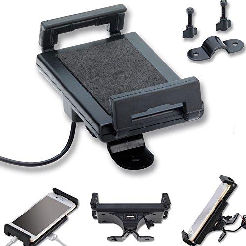 Motociclo manubrio del supporto del telefono cellulare con USB presa smartphone handy Navy GPS Nero