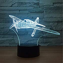 Avion À Hélice 3D Led Lampe 7 Couleur Night Lamps Kids Touch Usb Table Lampe Bébé Veilleuse Veilleuse