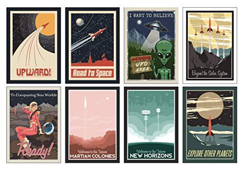 Weltraum NASA Poster Set - 8 x A4 Universum Poster - Das perfekte Geschenk für kleine und große Astronauten (Kostenloser Poster Versand)