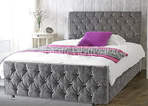 LUXURY FLORIDA UPHOLSTERED CHENILLE FABRIC BED FRAME CRYSTAL DIAMANTE DELUXE HEADBOARD FOOTBOARD (3 FT, 4FT, 4FT6, 5FT, 6FT) (4 FT 6