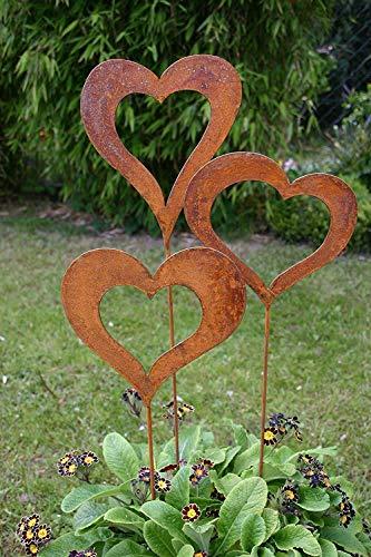 Gartenstecker Set Herzen 3 x 60cm Metall - 2