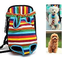 Case Wonder Creative Durable Cómodo Tejido de Tela Cabeza Hacia Fuera Diseño Perro de Mascota Front Carrier Gato Bolsa Mochila Apta para Perros Pequeños Portátil para Viajes al Aire Libre de Senderismo (S)