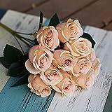 Jun7L Künstliche Seide Rosen Blumen Gefälschte Braut Brautjungfer Blumenstrauß für Hausgarten Hochzeit Dekoration, 12 Kopf, 40 cm Pink B 40x6cm