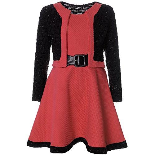 BEZLIT Mädchen Spitze Winter Kleid Langarm 21644, Farbe:Lachs, Größe:140