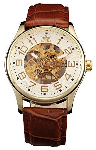 Sewor Rose Gold Mens Mechanical Hand Wind Skeleton Transparent Wrist Watch (Platinum)