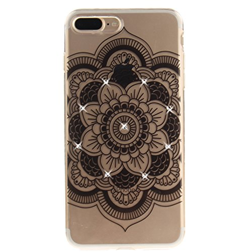 iPhone 7 Plus Hülle, Voguecase Bling Silikon Schutzhülle / Case / Cover / Hülle / TPU + PC Gel Skin für Apple iPhone 7 Plus 5.5(Diamant-Die Hälfte Blume) + Gratis Universal Eingabestift Diamant-Lace Teppich/Schwarz