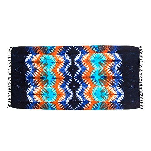ManuMar Damen Sarong | Pareo Strandtuch | Leichtes Wickeltuch mit Fransen-Quasten (L: 115 x 225 cm, Schwarz Orange Royalblau)