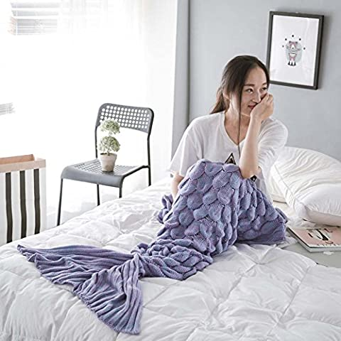 Mermaid Tail Blanket Handcrafted Crochet Knitting for Adult, Super Soft & Warm Sleeping Bag Blanket (76.7