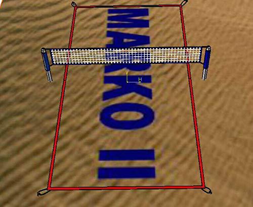 Linien für Beachvolleyball Spielfeldmarkierung 8 x 16 9x18 verstellbar Volleyball Bandes (Rot)