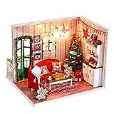 Vovotrade DIY Puppen Haus Kit Holz Dollhouse Miniatur Puppenhaus Möbel Kit mit LED-Licht Kreative Möbel Handwerk Kabine für Kinder und Erwachsene Weihnachten Geburtstagsgeschenk (Mehrfarbig)