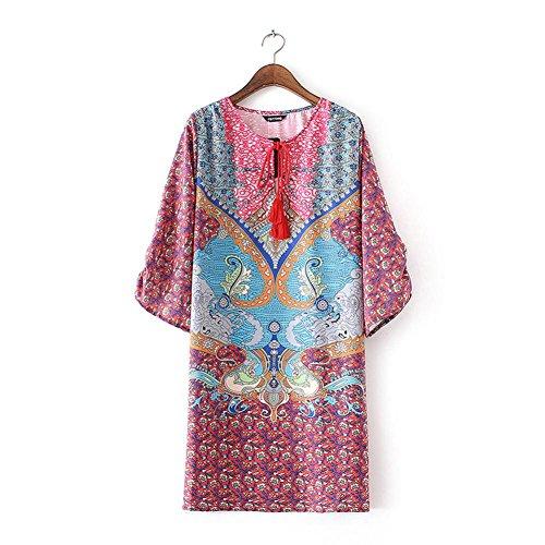 Robe Femme Koly Femmes Bohemian Cravate Vintage Imprimé Style Ethnique Shift Summer Dress Rouge-01