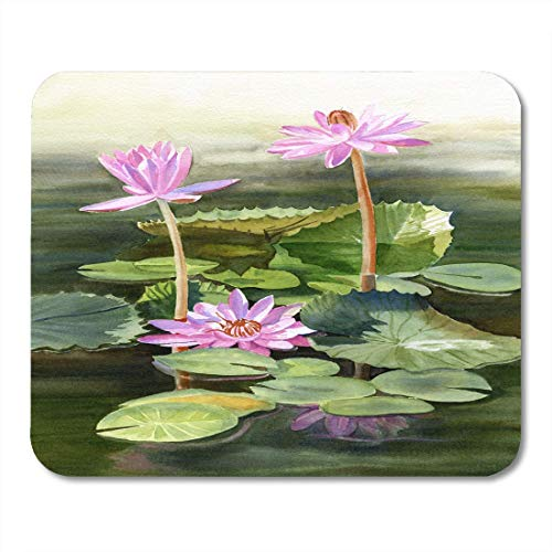 Mouse Pads Three Pink Water Lilies with Pads Watercolor Painting with Growing Out of Pond with Colorful Lily Mouse Pad for Notebooks,Desktop Computers Mouse Mats, Office Supplies -