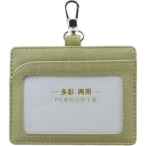 CMX A7929 2-face in pelle sintetica con porta carte di credito e carta d'identità con finestra e 1 scomparto per carta di credito, stile orizzontale, vari colori cachi