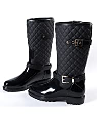 Accesorios de tubo de PVC de agua botas zapatos agua zapatos botas diamante enrejado de la moda de las mujeres zapatos casuales zapatos impermeables con antideslizante y resistente al agua , black , 38