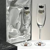 Set/Confezione 2 calici di champagne per gli sposi, nozze d
