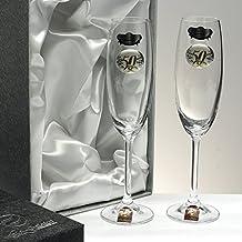 """Set/Estuche de 2 copas de champán para novios, bodas de plata/oro, aniversarios, colección """"ALIANZAS"""", aplique bilaminado."""