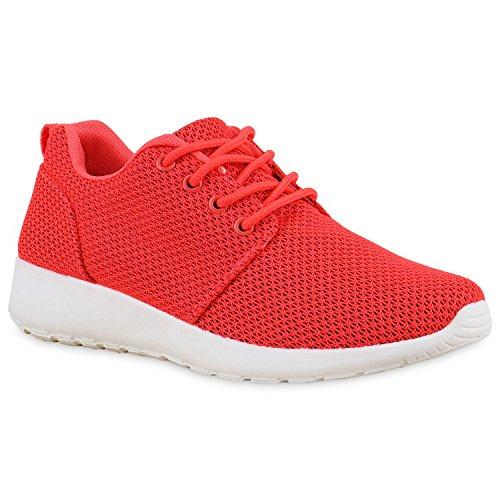 Damen Sportschuhe Muster |Laufschuhe Runners | Sneakers Schuhe Strass Metallic Neonrot