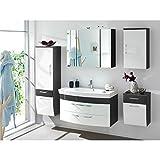 Exklusiv | Badmöbel Set | Rom | in verschiedenen Farbvarianten mit Spiegelschrank | (Weiß/Anthrazit)