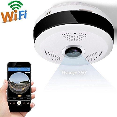 TBY Kamera Panorama Drahtlose Wifi-Monitor Smart HD-Netzwerk 360 ° Fisch Auge Keine Sackgasse Objektiv Indoor Mini-Kamera-Unterstützung Für Android IOS Handy-Fernbedienung,1.3Millionpixels960p (Fisch-objektiv-kamera)