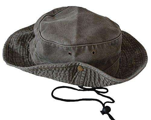 Unisexe Mens Ladies Safari Outback australien style 100% coton Bush chapeau à bords larges, Chin Strap, les deux côtés d'accrochage vers le haut et Évents