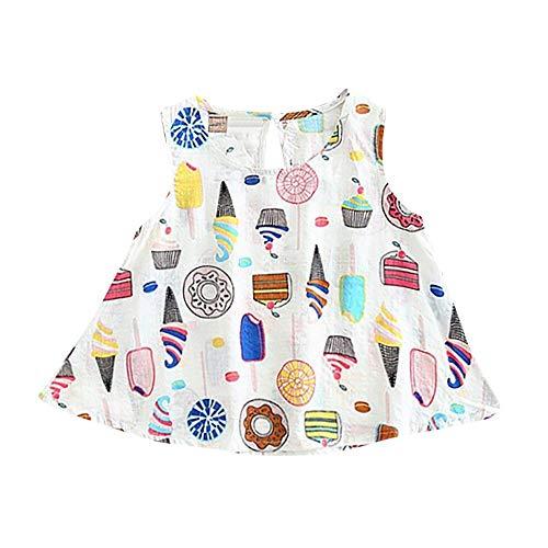 JUTOO Kinder Kid Girls Ice Cream Sleeveless Weste Prinzessin Casual Dress Clothes (Weiß90)