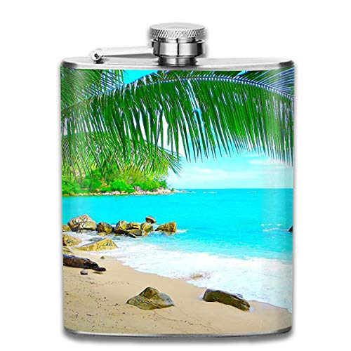FGRYGF Pocket Container for Drinking Liquor, Sunny Island Beach Hip Flask for Liquor Stainless Steel Bottle Alcohol 7oz