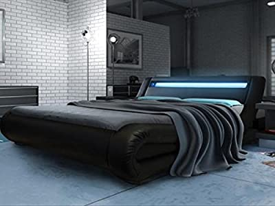 Modern Italian Designer Bed Kingsize Upholstered in Faux Leather, 5ft Rio LED Black - inexpensive UK light store.