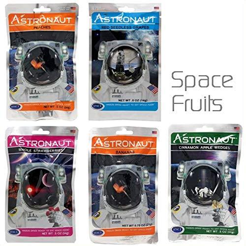 Astronaut Weltraum-Nahrung Gefriergetrocknetes bereites, Frucht zu essen - 5-Pack-Sorten Bündel Bananen - Äpfel - Trauben - Erdbeere - Pfirsiche