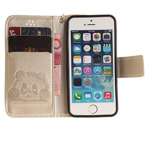 iPhone 5S Coque, iPhone SE Coque, Mythollogy Étui à rabat Housse avec Dragonne Pure Couleur PU Cuir Portefeuille Coque de Protection Antichoc Case Cover Pour iphone 5 / 5S / SE - Skyblue Or