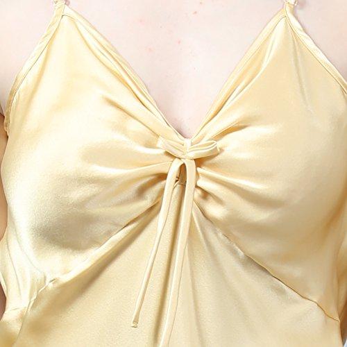 LULUSILK Damen 19 Momme Seide Spaghettiträger V-Ausschnitt Nachthemd Schleife Mini Nachtkleider Gold