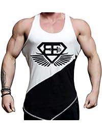 Camiseta camisa tirantes culturismo para hombre. Tank top y t-shirt para gimnasio y entrenar. (EA negra y blanca)