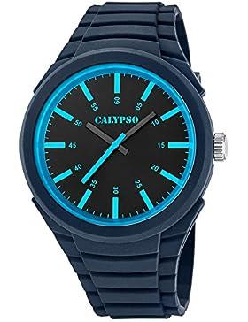 Calypso Analoge Herren-Armbanduhr Trend PU-Armband dunkelblau Quarz-Uhr Ziffernblatt schwarz blau UK5725/6