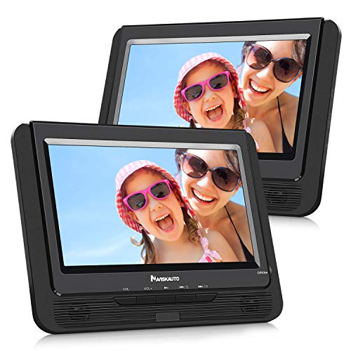 NAVISKAUTO 9 Zoll DVD Player Auto 2 Monitore Tragbarer DVD Player mit zusätzlichem Bildschirm 5 Stunden Akku TFT Display Kopfstütze Monitor Fernseher Dual Bildschirm PD0921B -