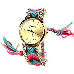 S&E? Women's National Style Gold Plated Dial Plate Knitting Strap Wrist Watch