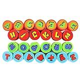 Su-luoyu Tampons à encre 26pcs Lettres Alphabet Cachet Timbres auto-encrage Divers modèles Jouets Amusant pour Enfants