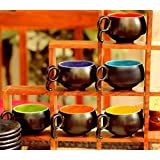 Ojos(Tm) Ceramic Cups With Saucers Set Of 6 Ceramic Tea Cups/Ceramic Tea Cups Set Of 6/Ceramic Tea Cup Set/Ceramic Tea Cup And Saucer [Black]