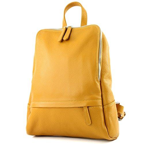 modamoda de - ital Damen Rucksacktasche aus Leder T138, Präzise Farbe:Senfgelb
