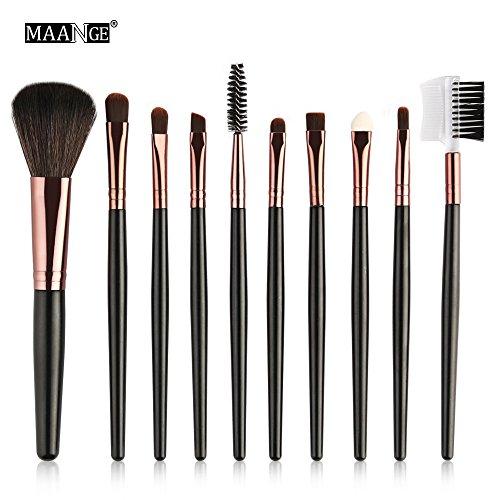 Keepwin 2018 Date 10 pcs Professionnel Maquillage Cosmétique Brosse Blusher Ombre Pinceaux Set Kit (café)