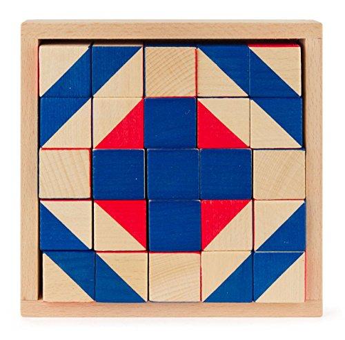 Würfelmosaik Legespiel mit 25 Teilen, Spielzeug aus Holz, Geschenk für Kinder, von DREGENO SEIFFEN - Original erzgebirgische Handarbeit -